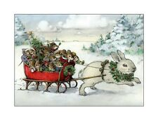 Wee Forest Folk Note#8 Bunny Xmas Note Cards Set of 6