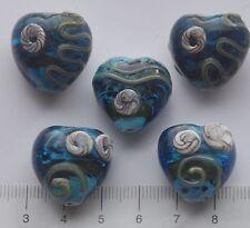 5 x chunky heart shaped, turq. lampwork glass beads   44gms.   5
