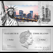 Skyline Note NEW YORK USA - Flexible 5 Gram Silver Dollar - 2017 Cook Islands $1