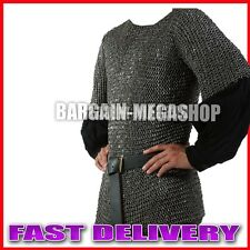 Medieval Stainless Steel Chainmail Shirt FLAT RIVETED Chain mail Hauberk XL