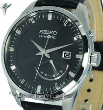 New SEIKO KINETIC DEEP BRONZE FACE Day Date BLACK LEATHER BUCKLE STRAP SRN045P2