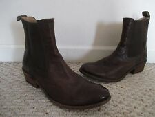 FRYE Carson Chelsea dark brown leather ankle boots Size 7 Ret. 298.00