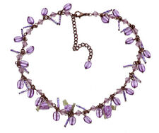 PURPLE DIAMANTÉ DROP & BEAD COPPER CHAIN CHOKER W FABRIC FLORAL DETAIL (ZX54)