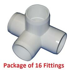 "3/4"" Furniture Grade 4-Way Side Outlet Tee PVC Fitting - 16 Pack"