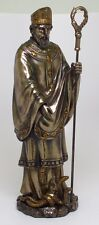 ST.SAINT PATRICK PATRON STATUE FIGURINE.BRONZE LIKE FINISHED.CHRISTIANITY DÉCOR