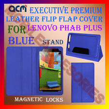 ACM-EXECUTIVE LEATHER FLIP CASE for LENOVO PHAB PLUS TAB COVER STAND NEW - BLUE