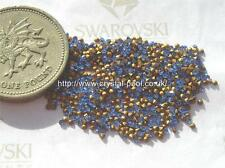 60 x Swarovski 2ss / 5pp Sapphire gold-foiled #1100 chatons