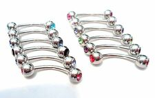 12 Pc Curved Barbell Crystal CZ Balls Clit Clitoral Hood VCH Jewelry 16 gauge