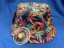 Pink/Orange/Teal Weed Leaf Printed Black Full-Brim Bucket Hat ONE SIZE Piranha