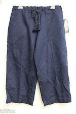 *NEW Lauren Ralph Lauren Navy Capri Linen Cotton Drawstring Pants M NWT $89 #907
