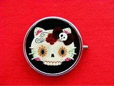 HELLO SUGAR SKULL KITTY CAT ROSE ROUND METAL PILL MINT BOX
