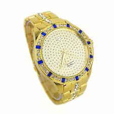 Techno Pave Gold Plated  Men Watch With Clear/Blue Cubic Zirconia