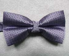 "NEW LUXURY BOW TIE MENS BOWTIE POLKA DOT SQUARES PURPLE 14"" - 21.5"""