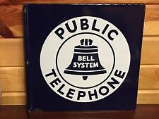 EARLY OriGiNaL BELL PUBLIC TELEPHONE FLANGE Sign VinTaGE PORCELAIN DSP PHONE OLD