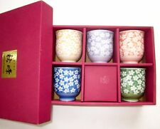 NIB Japanese Tea Cup Set 5 Floral Colorful Ceramic Tea Cup