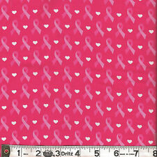 David Textiles HOPE FOR A CURE Cure Ribbon Pink Fabric 1/2 yard