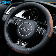 High Quality Car Top Leather Steering Wheel Cover Brown Black Anti-Slip 38CM