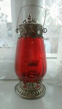 New Antique Vintage Moroccan Garden Red Lantern Candle Holder Indoor Outdoor UK