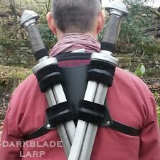 Double Back Scabbard Sword Holder Harness for Cosplay Larp Deadpool in black
