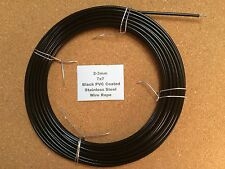 2-3mm x 10m Black PVC Coated Stainless Steel Wire Rope 7/7 18/8 304 INOX