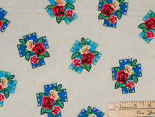 Lady of Guadalupe Cream Floral Crosses Religious Fabric by the 1/2 Yard #4802M99