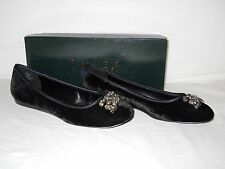 Lauren Ralph Lauren New Womens Adelisa Black Velvet Flats 8 M Shoes