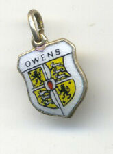 Vintage enamel SHIELD Charm OWENS FAMILY CREST COAT OF ARMS