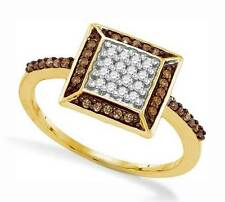 Great Look! 100% 10K Yellow Gold Chocolate Brown & White Diamond Ring .25ct
