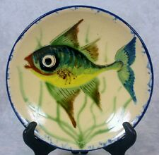 Puigdemont Art Pottery Spanish French Majolica Blue Green Fish Wall Plate