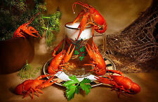 Framed Print - Still Life Beer & Lobster  Crayfish (Picture Poster Art Sea Food)