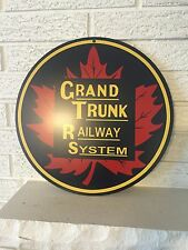 "Grand Trunk Railway System Maple Leaf Logo Heavy Metal Sign 14"" Round New DL"