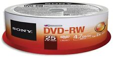 25-Pak SONY 2X Logo-top 4.7GB DVD-RW Media In Cakebox, #25DMW47SP