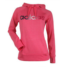 NWT $50 ADIDAS WOMENS CLIMAWARM PINK ULTIMATE FLEECE LOGO PULLOVER HOODIE M MD