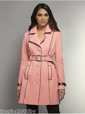 NEW YORK AND COMPANY CORAL BELTED FAUX LEATHER PIPING NY TRENCH COAT  SZ L