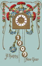 1909 New Year~Art Nouveau~Clock~Mushrooms~Forget Me Nots~Roses~NEW Lg Note Cards
