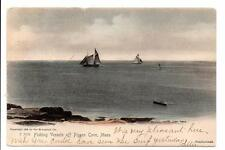 Fishing Vessels Off Pigeon Cove, MASS 1905 Hand Colored Postcard