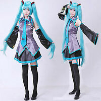 2016 Newest Vocaloid Miku Hatsune Cosplay Costume kit Japanese Mid Dress