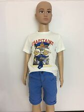 Catimini Boys Outfit, Set, T Shirt & Shorts Size Age 3, 98cm, Blue & White Vgc