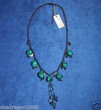 """COLLANA da Designer """"CC"""" Verde e Blu Perline e leaf-shaped charms NUOVO con etichetta"""