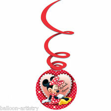 3 Disney Minnie Mouse Red Polka Dots Party Swirls Dangling Cutouts