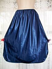 "NEW INDULGENCE NAVY BLUE SATIN 26"" HALF SLIP~2 PANEL WITH SLITS ON THE SIDES~L~"