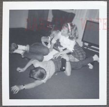 Vintage Photo Cute Boys & Girls Climbing on Dad Father Hop on Pop 756326