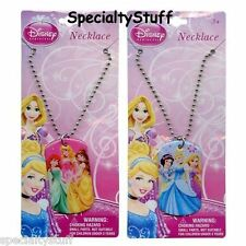 "2 NEW DISNEY PRINCESSS 18"" METAL DOGTAG NECKLACE 3+ DOG TAG (PD)"