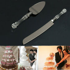 2pcs Stainless Steel Cake Knife & Shovel Set Crystal Handle Wedding Party Server