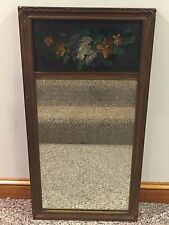 Antique Framed Mirror Hand Painted Floral Panel Kabatznick's Art Shop Boston, MA