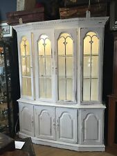 Painted Large Book Case Glass Cupboard Dresser Shabby Chic Georgian Style