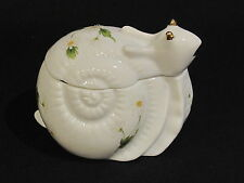 Lefton China Snail Lidded Trinket Ring Dish 1981 Daisy White Green Yellow Gold