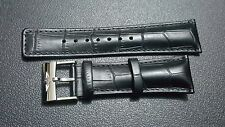 New 24mm Genuine Leather Watch Strap With Breitling Stainless Steel Buckle