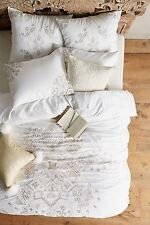 NWT ANTHROPOLOGIE $480 ICED JASPER EMBROIDERED KING DUVET + 2 EURO SHAMS