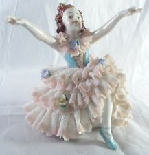 Oldest Volkstedt Dresden Lace Figurine Ballerina Girl taking bow Germany c1920